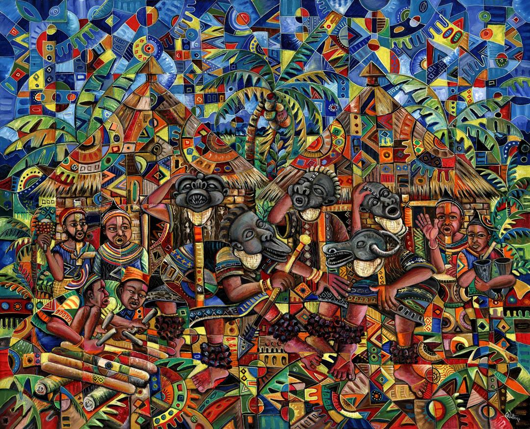 Juju Dance Group African voodoo painting