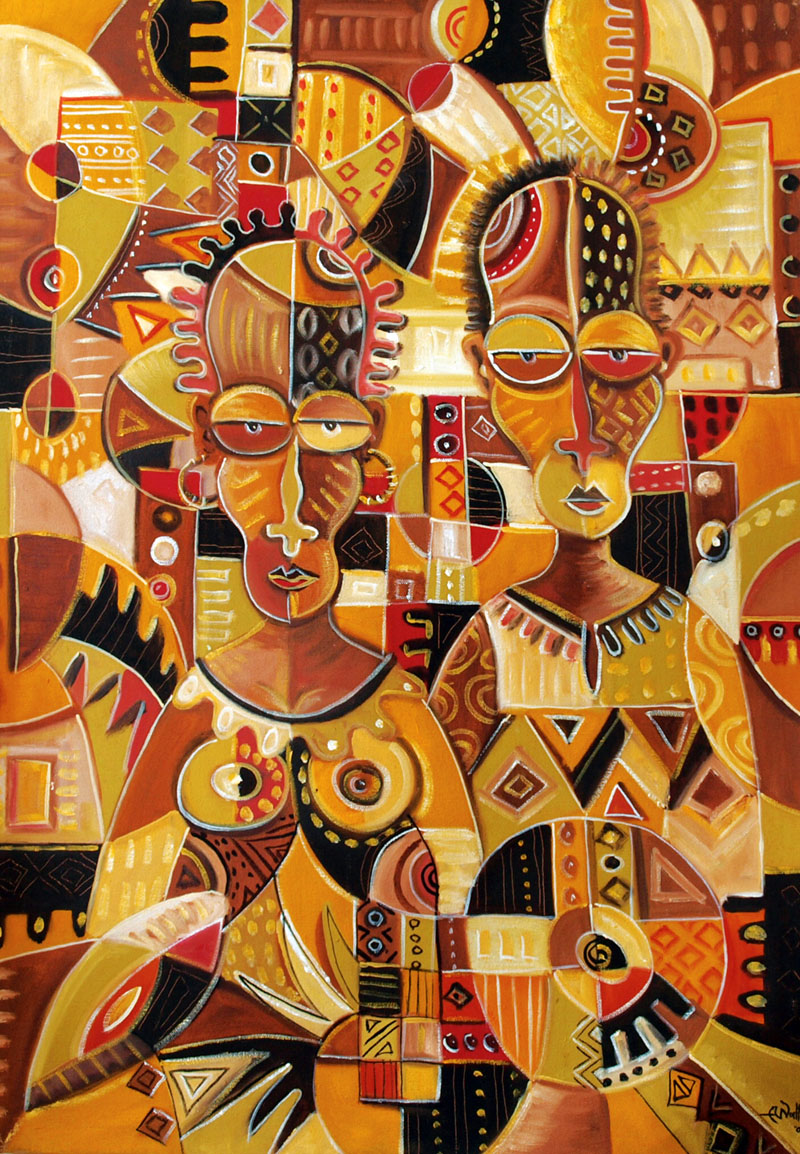 This oil painting on canvas depicts an African couple.