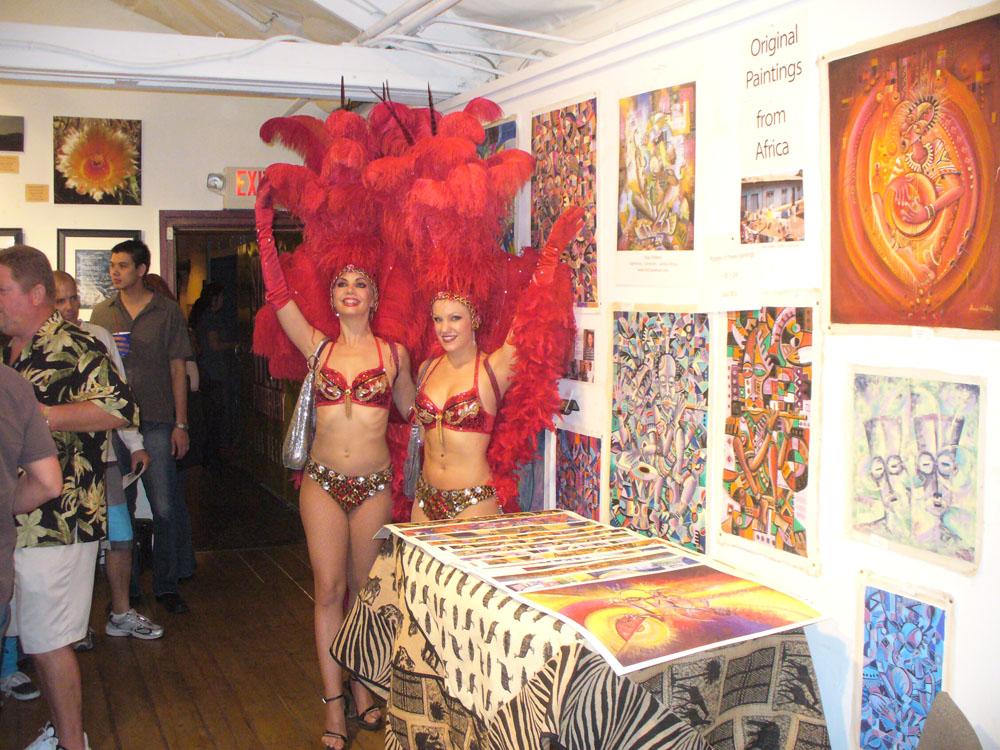 Las Vegas showgirls at First Friday art show