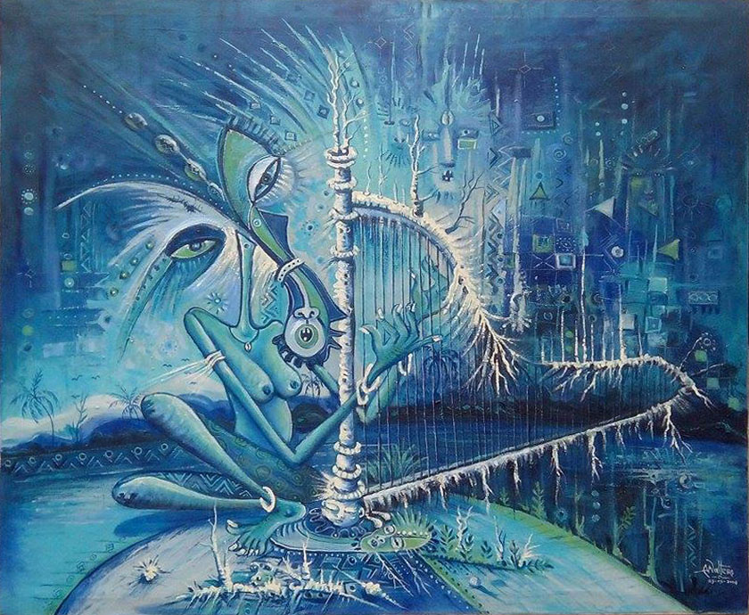 This surreal painting of a nude female harpist is done mostly in hues of blue.