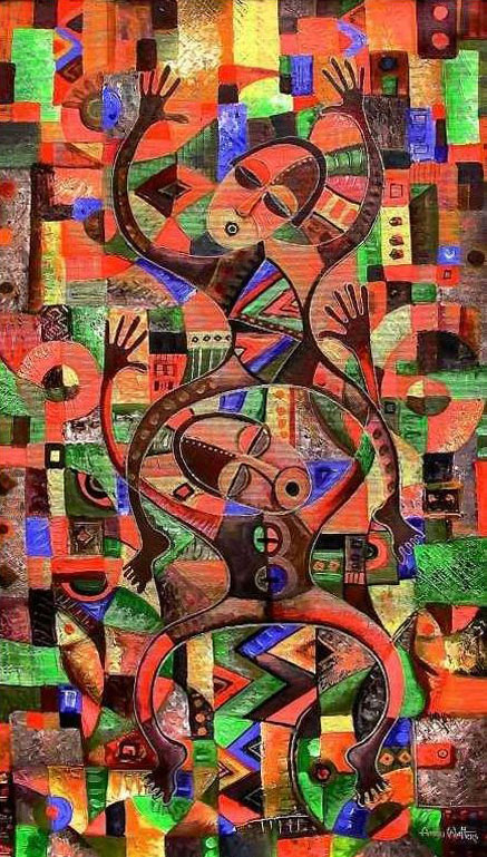 Painting by Angu Walters in celebration of traditional African dance.