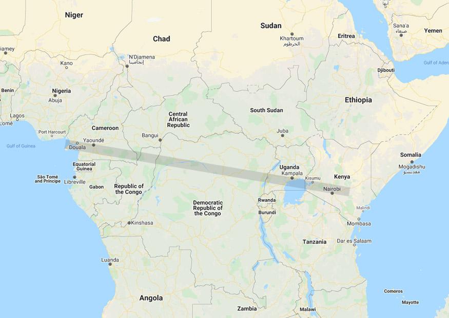 Africa map Nairobi Kenya to Douala Cameroon