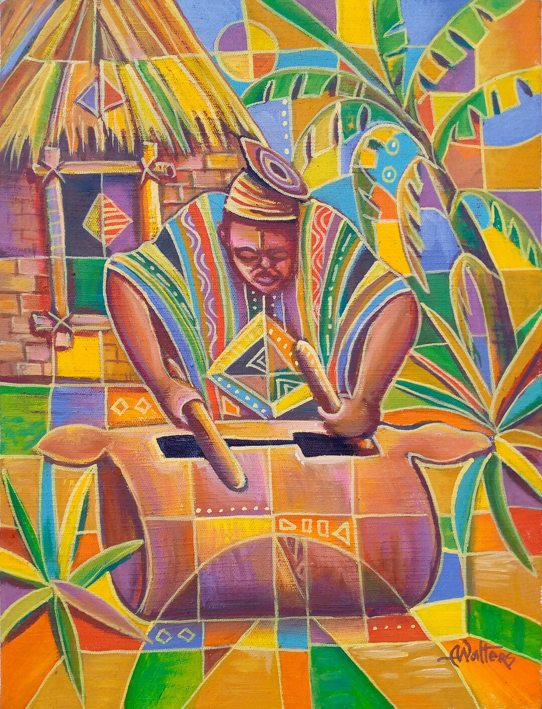 Before there was Twitter, there were drums. Acrylic painting of an African villager delivering a message by use of drums.