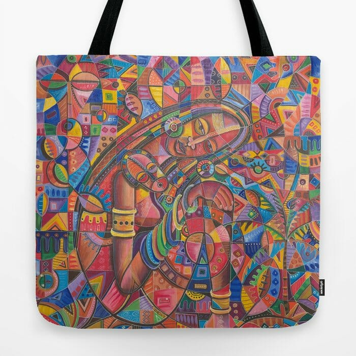 Mother and Child 3 painting on tote bag