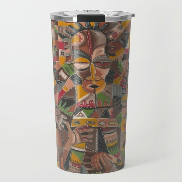 Mother, Father and Child painting travel mug