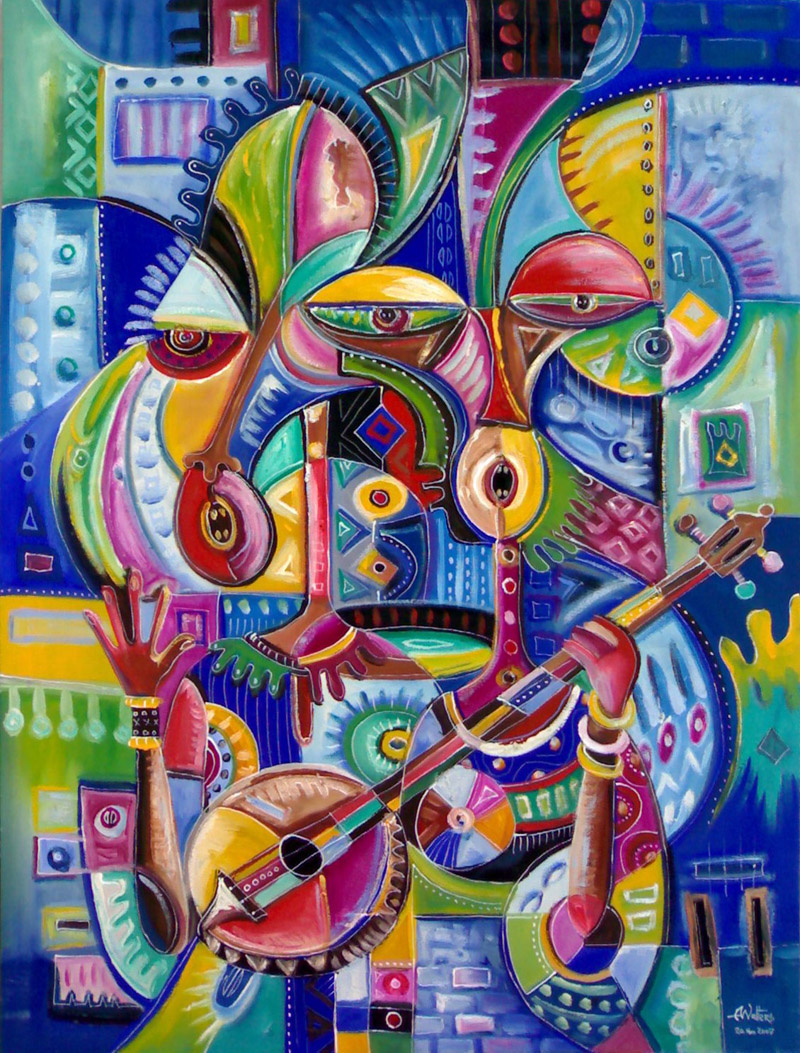Music is love surreal romantic musical couple