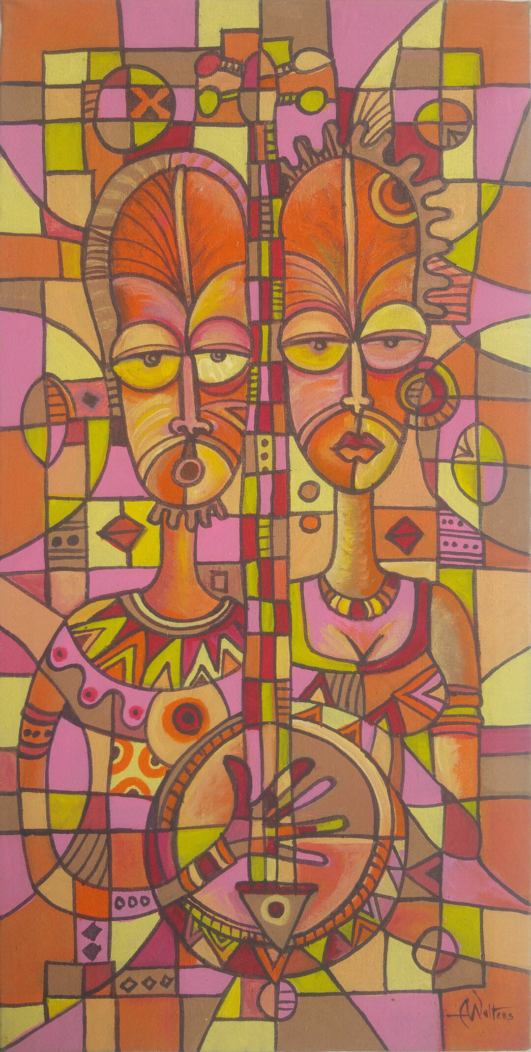 This acrylic painting from Africa is a musical duo singing love songs.