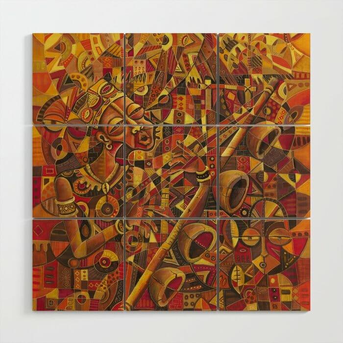 Mvet Player 2 wood wall art panels