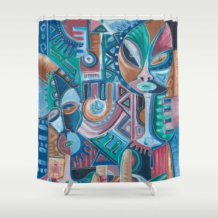 My Friend surreal painting on shower curtain