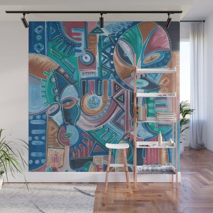 My Friend surreal painting on wall mural