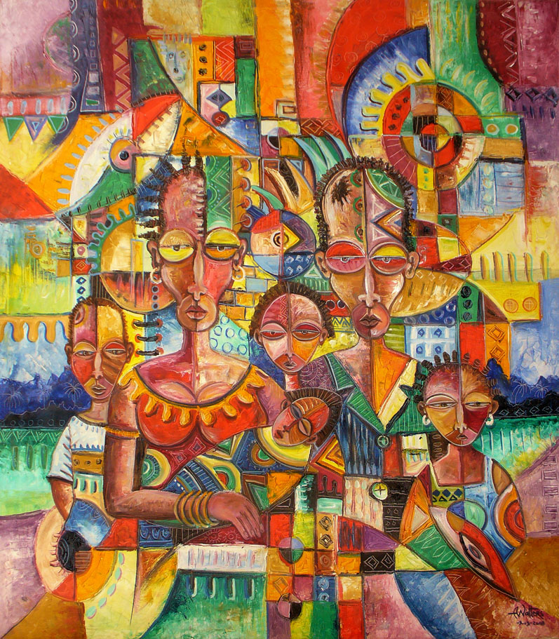 Abstract figurative oil painting on canvas of an African family with their newborn baby.