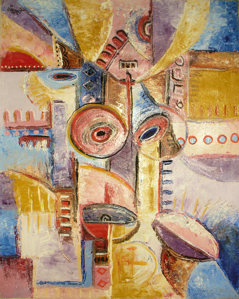 An abstract oil painting on canvas from Cameroon.