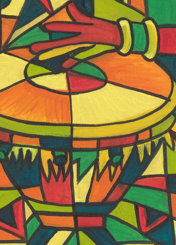 Play the Drum African painting close
