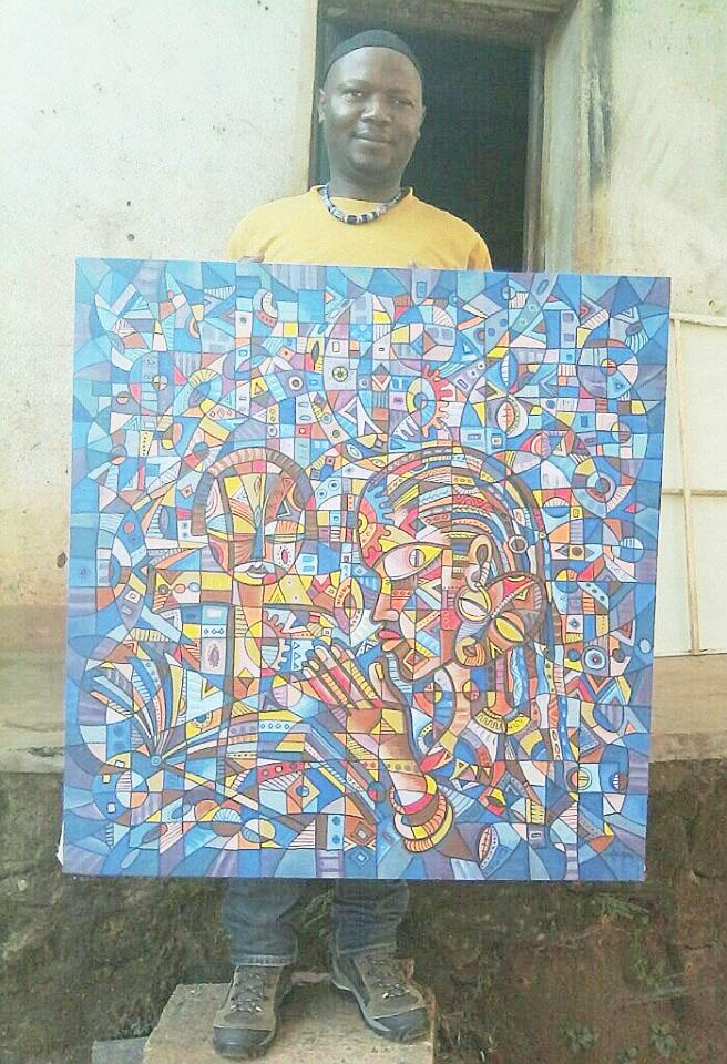 Angu Walters with painting Prayer 5