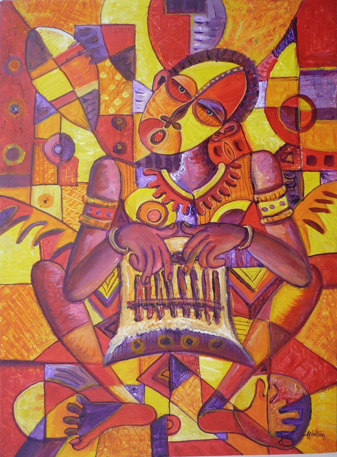 Naïve art painting of an African drum player.