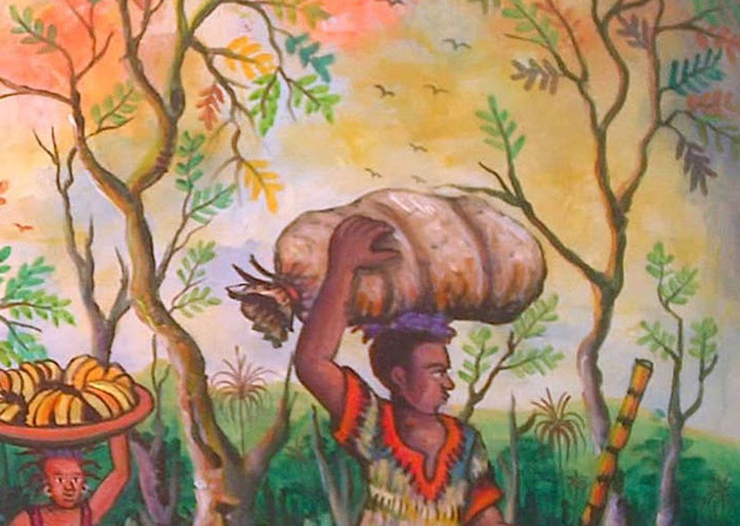 Saturday Market 2 African village painting close