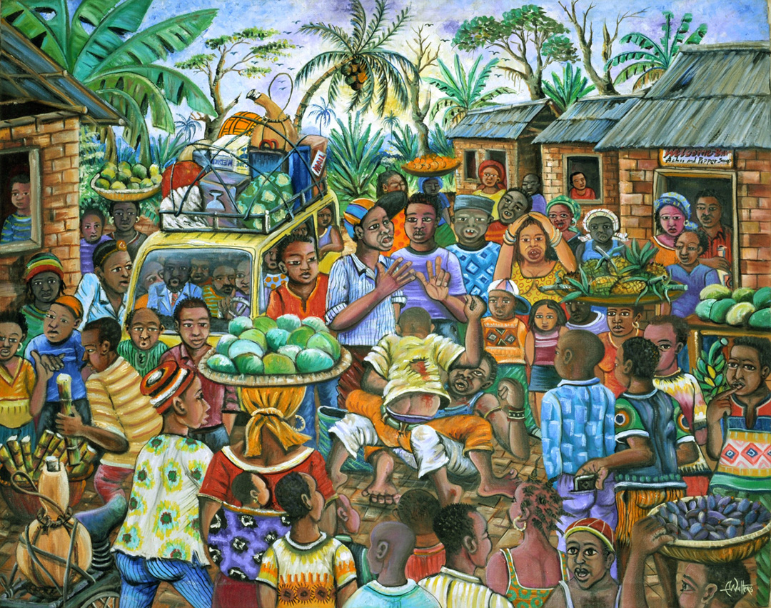 Saturday Market in Africa painting