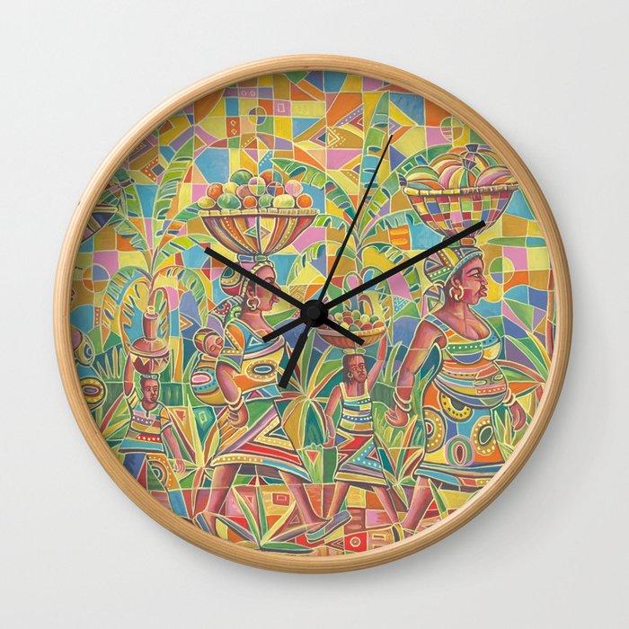 Saturday Market 4 Wall Clock