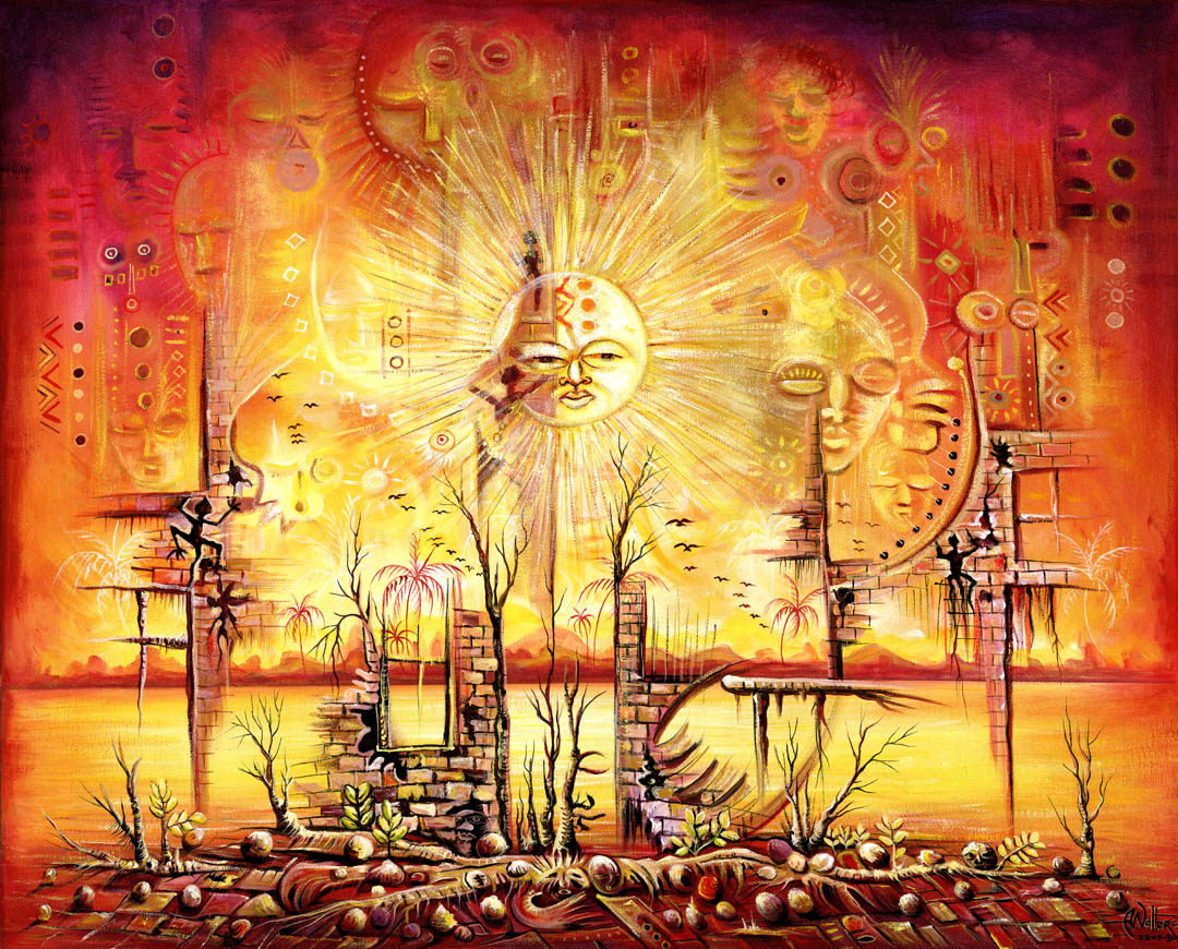 A brilliant yellow surrealistic painting. The sun is seen above an post-apocalyptic landscape.