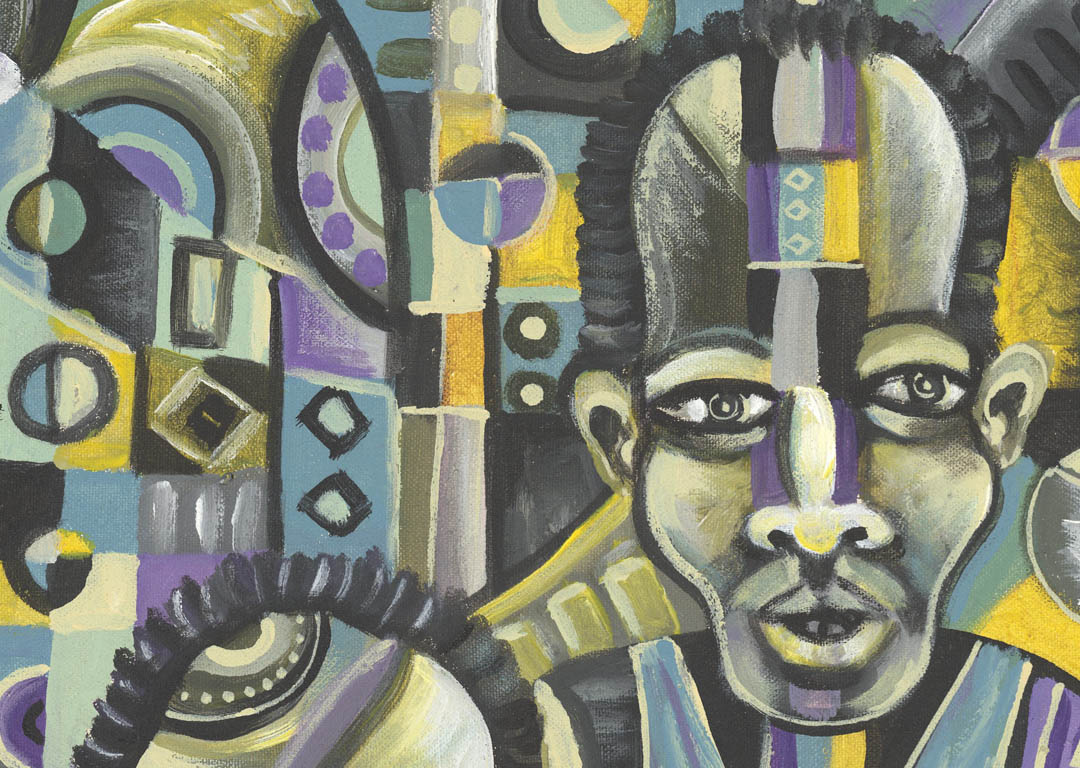 The Blues Band 1 African music painting close