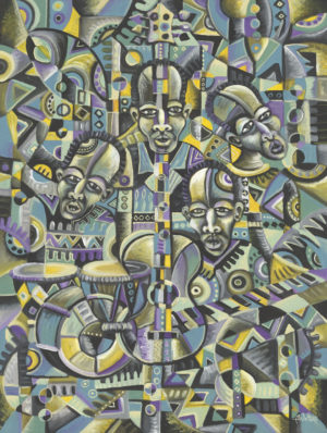 The Blues Band 1 African music painting