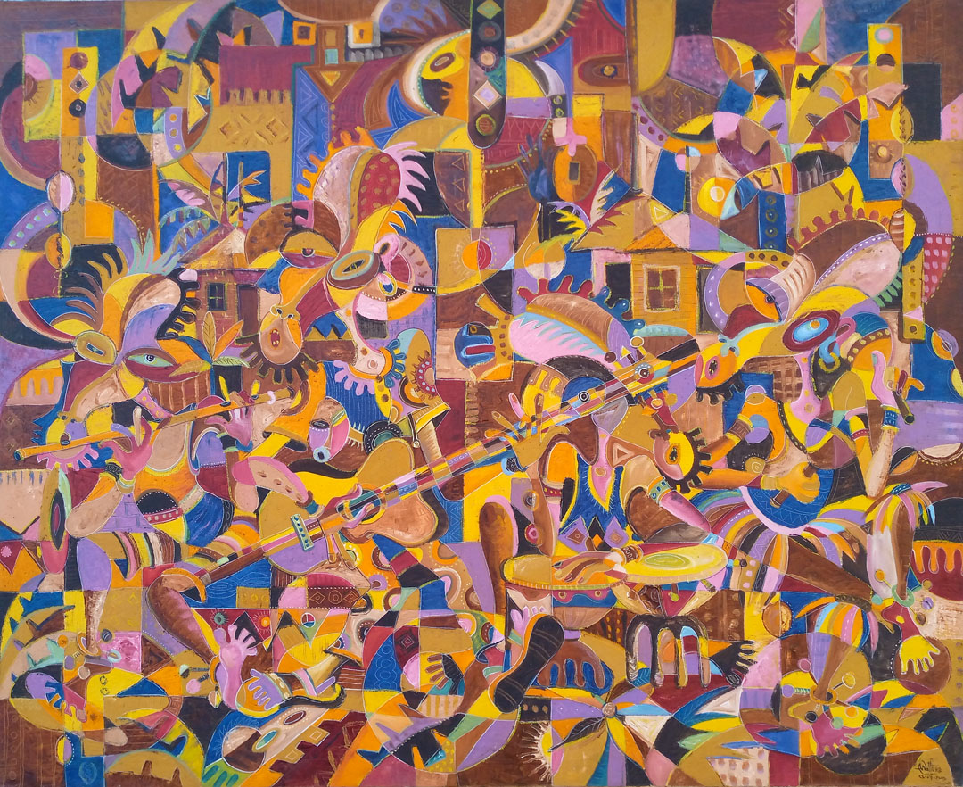 Huge surreal oil painting of a group of singers and musicians in Africa.