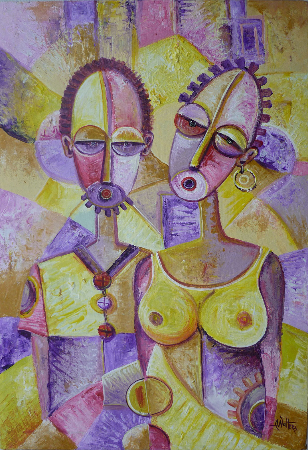 Oil painting from Africa of two people in love.