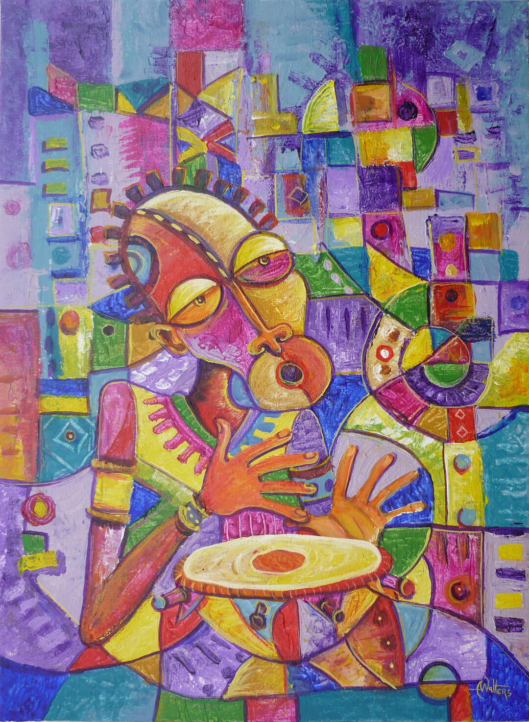 Naïve art oil painting of an African drummer.