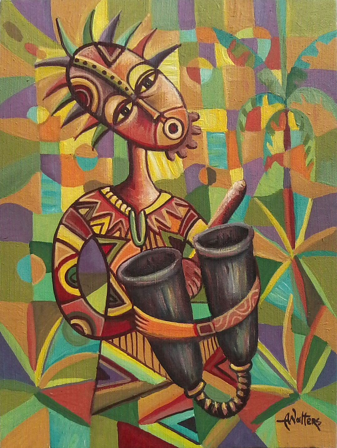 Painting of African drums player in acrylics.