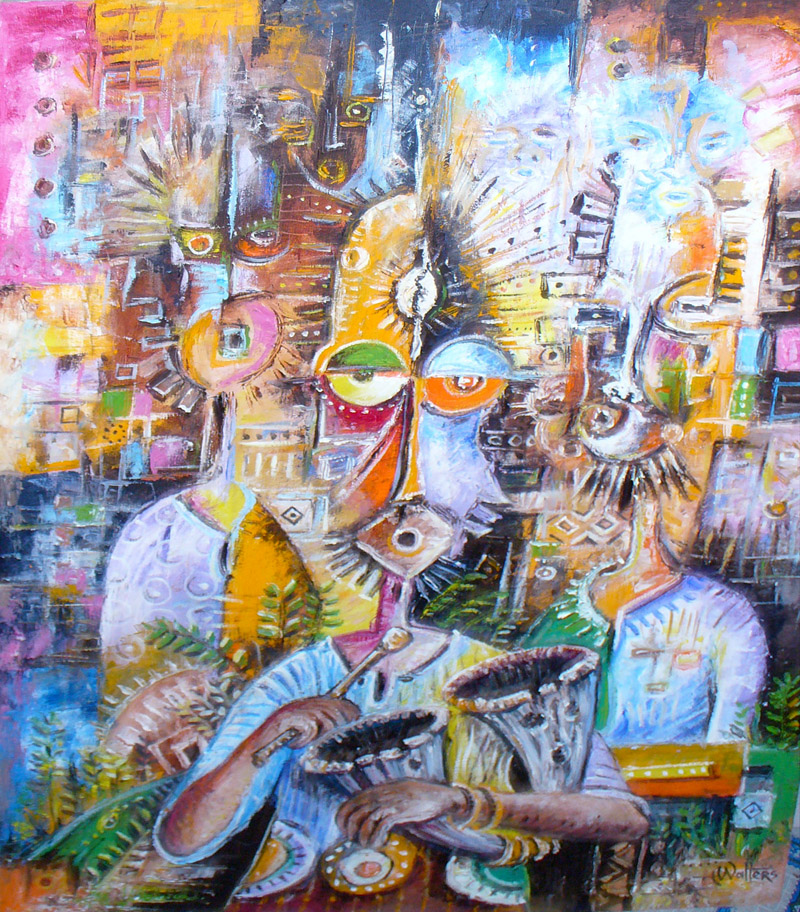 A surreal painting of an African drum player.