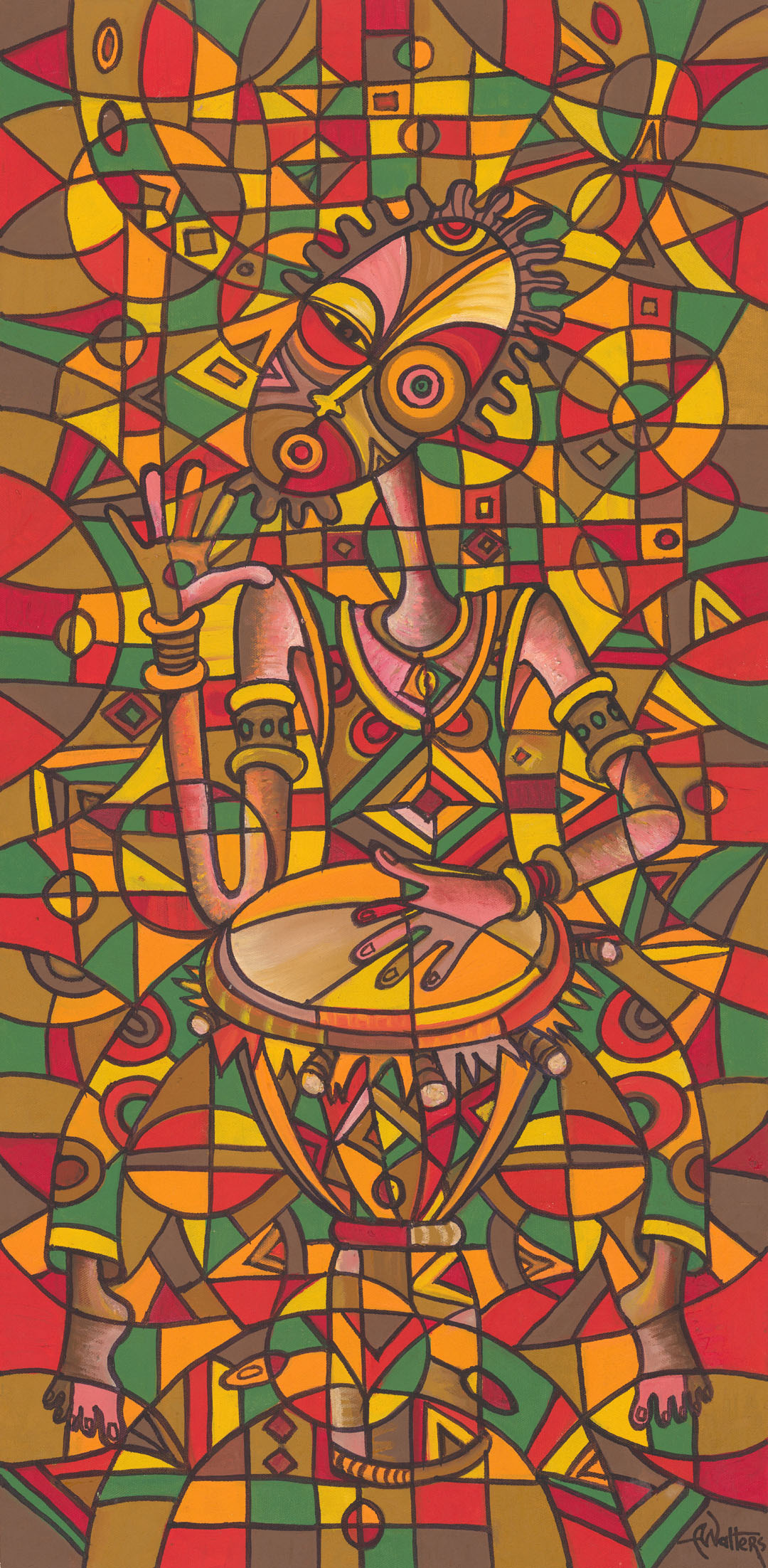 A yellow green and red painting of an African musician playing the drum, from Cameroon.