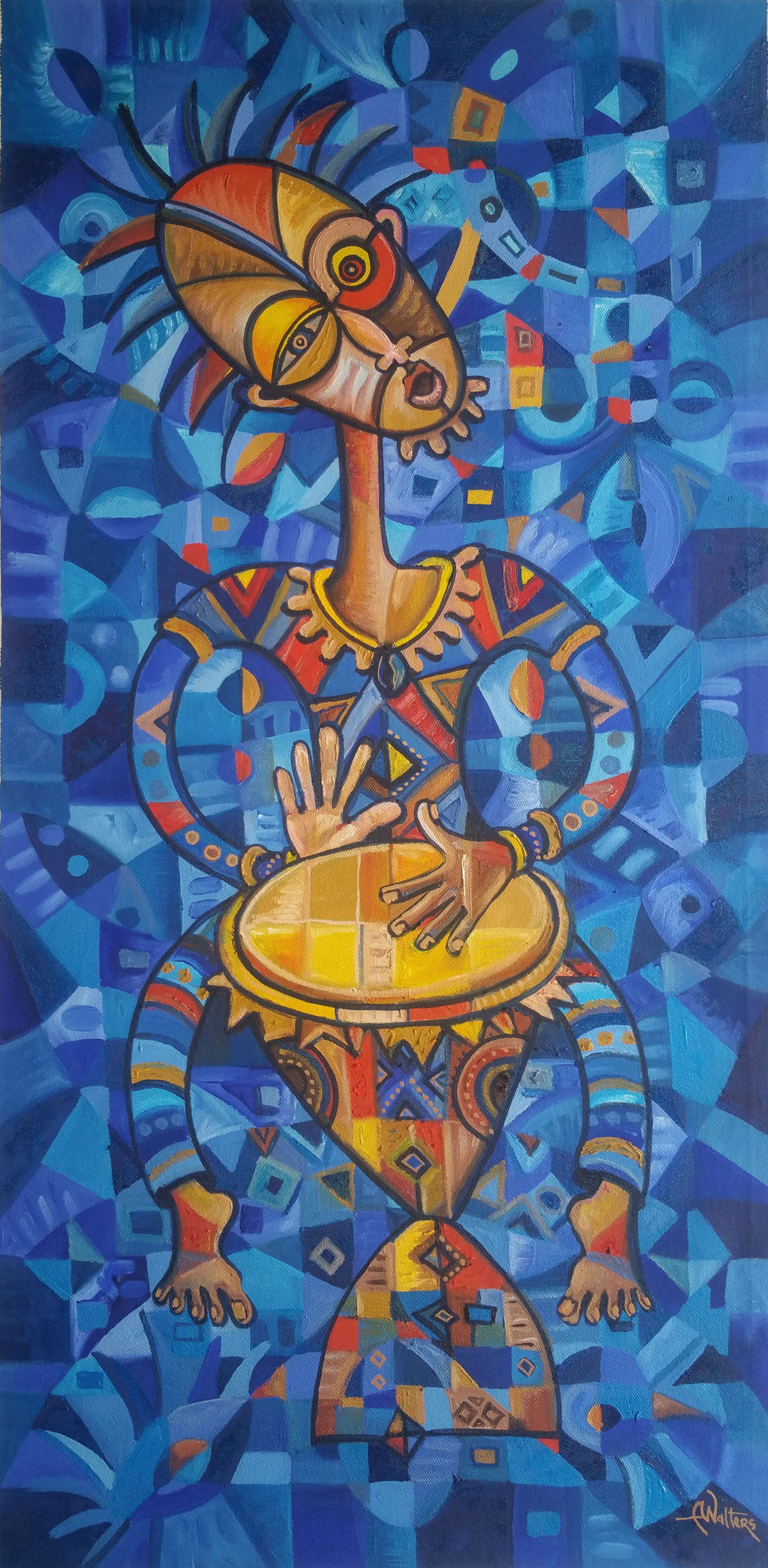 Mostly blue painting of an African drummer.