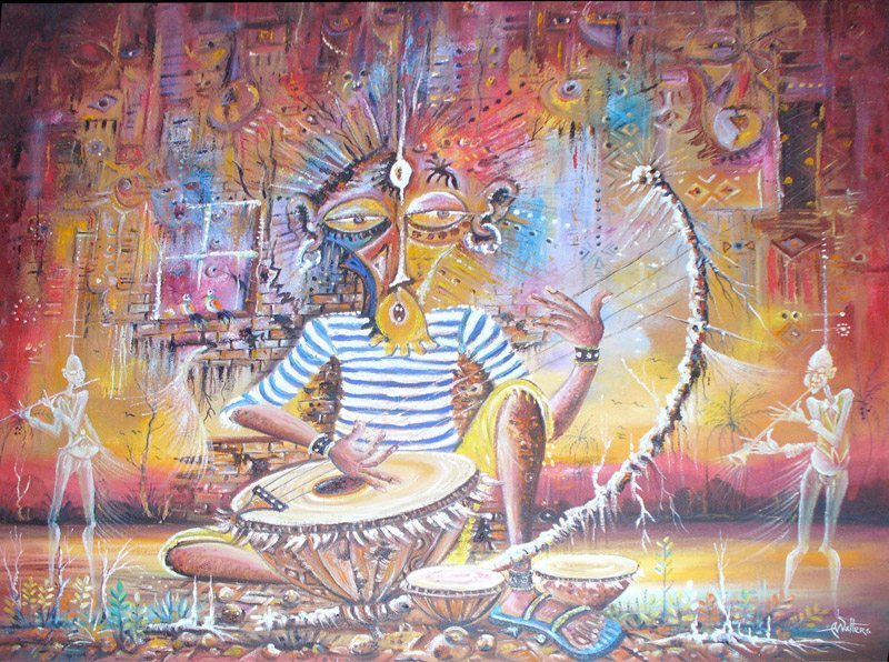 A surreal painting of a musician playing a drum in Africa.