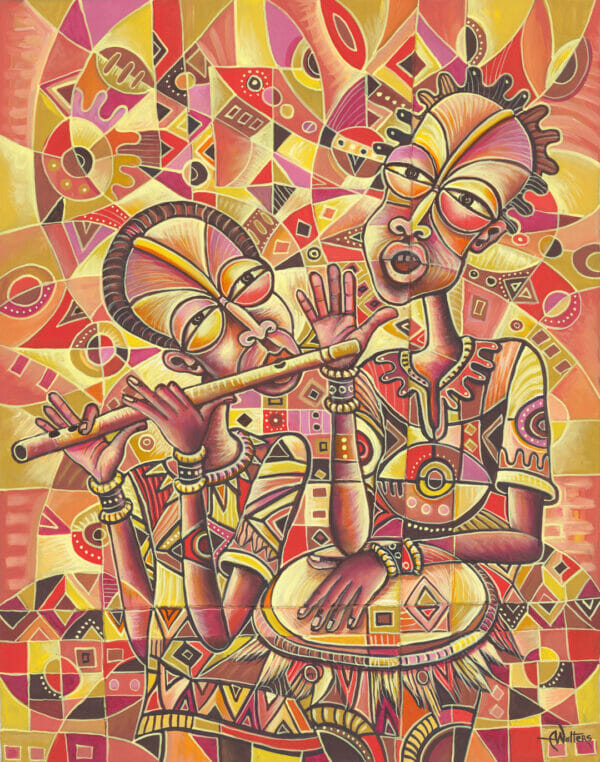 Drummer and the Flutist 3 music painting