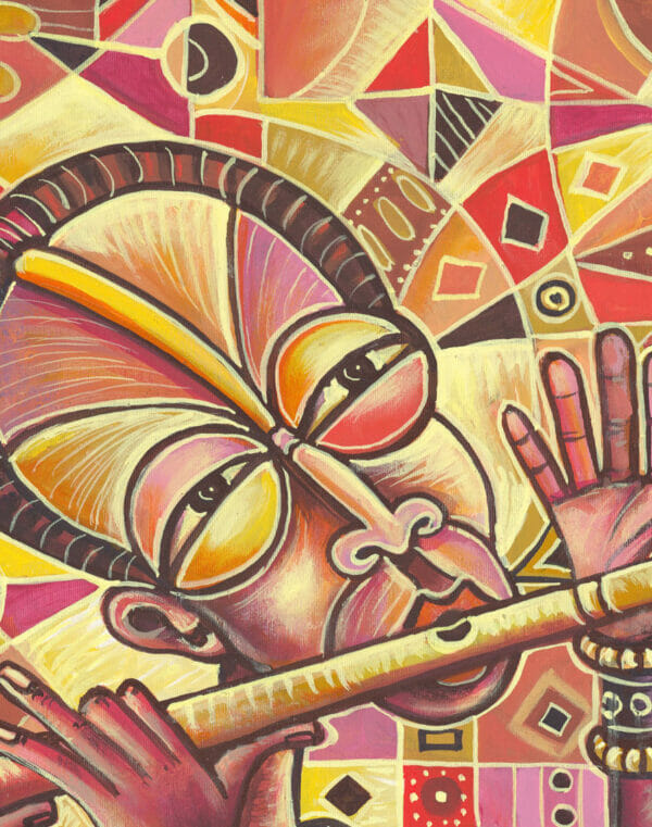 Drummer and the Flutist 3 music painting close