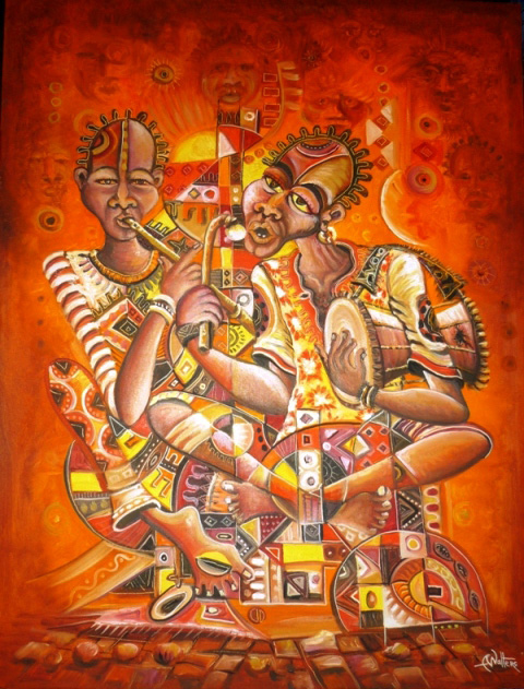 Painting of African musicians by Angu Walters.
