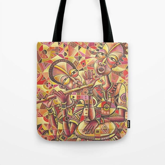 Drummer and Flutist 3 tote bag