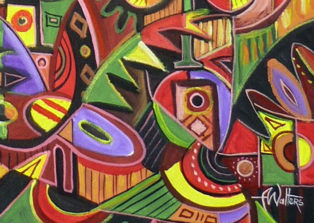 The Flutist 3 African music painting close