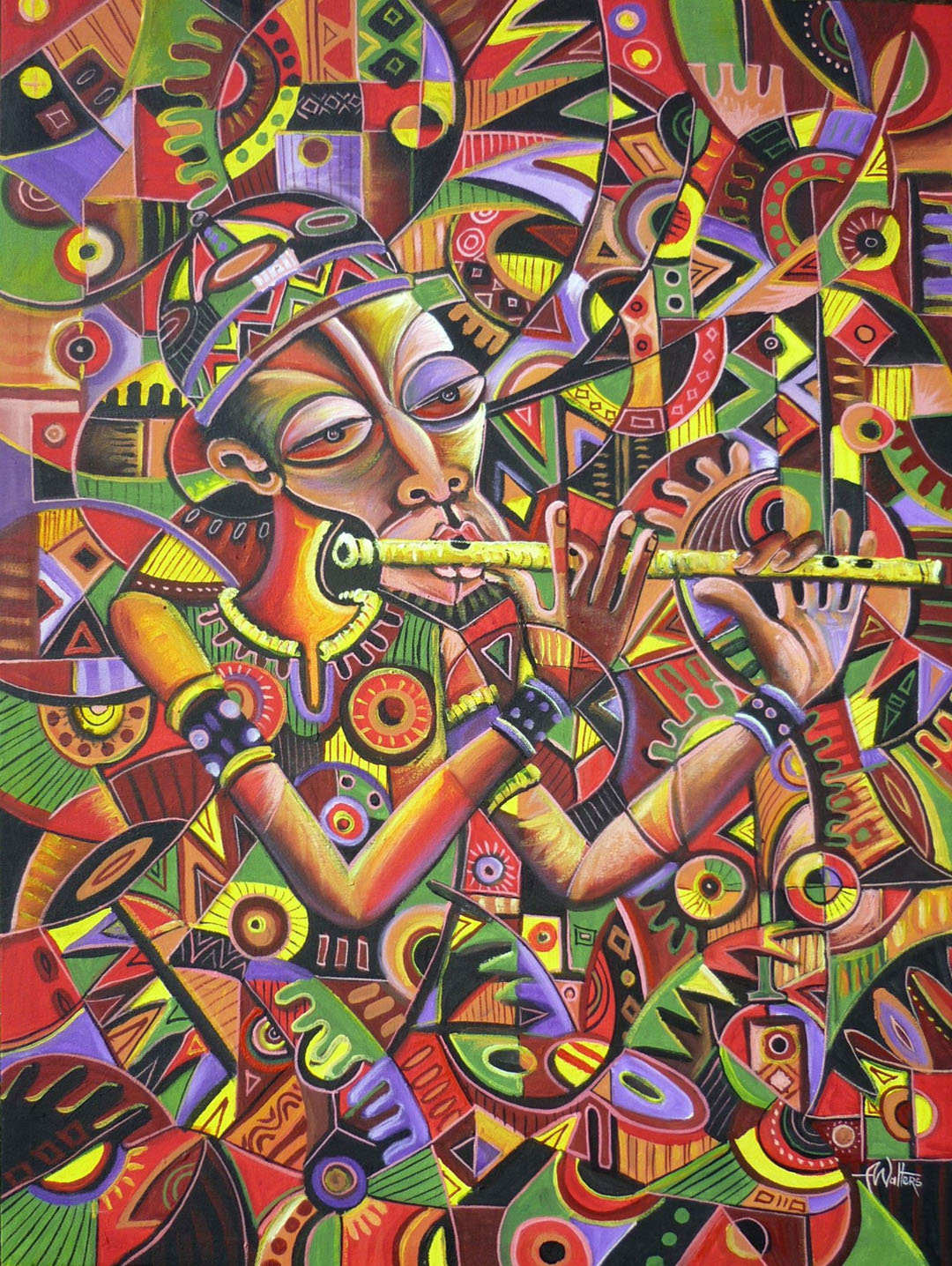One of many Angu Walters paintings in celebration of flute music.