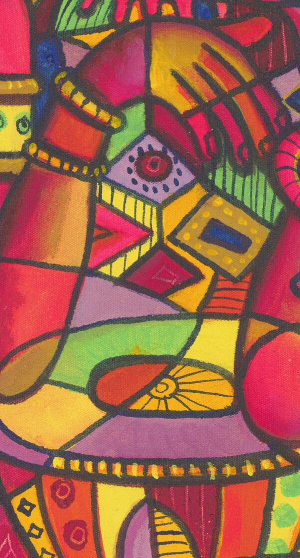 The Flutist 5 pink music painting close