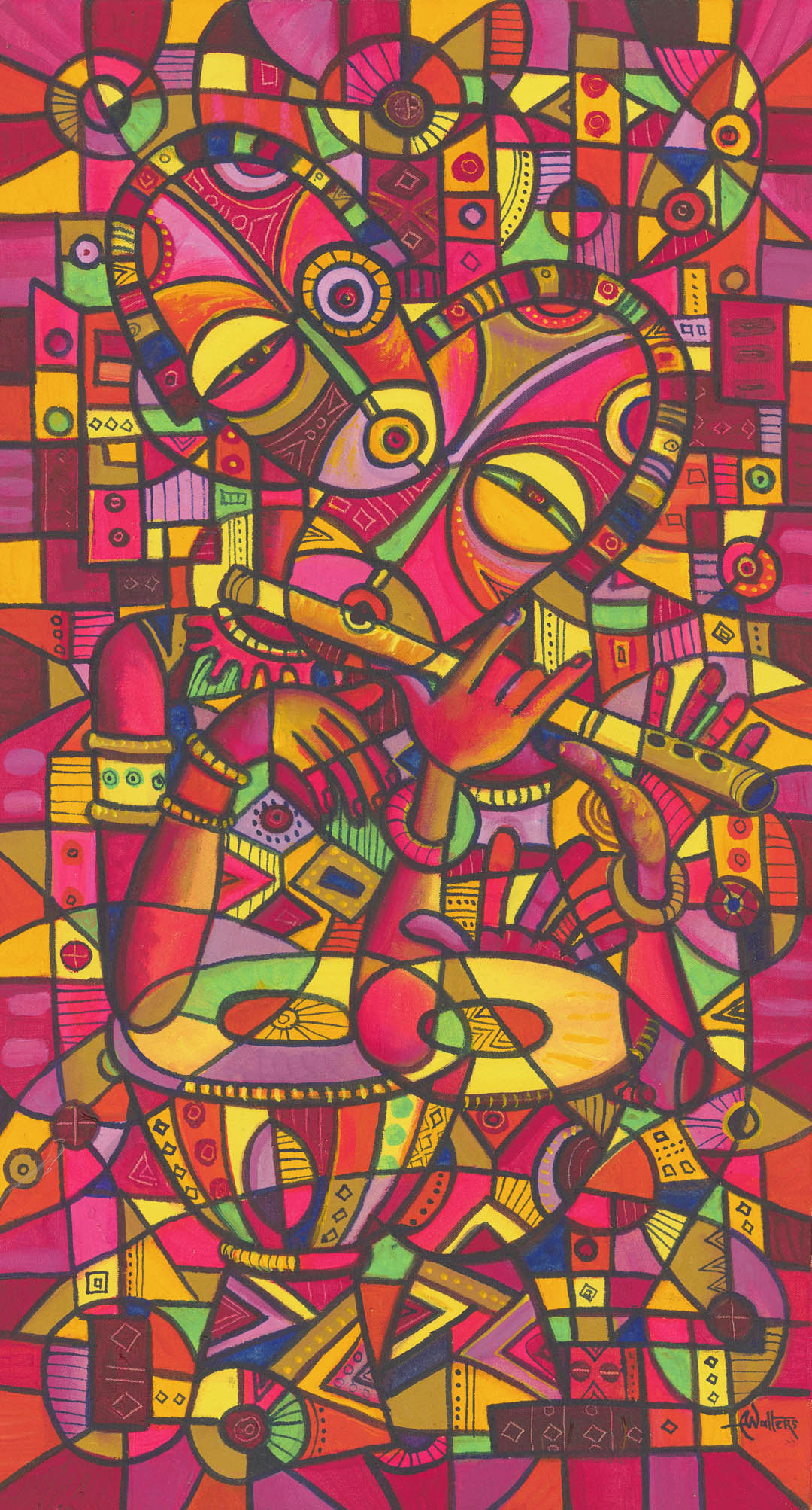 This dazzling bright original acrylic painting from Central Africa depicts a flutist and singer.