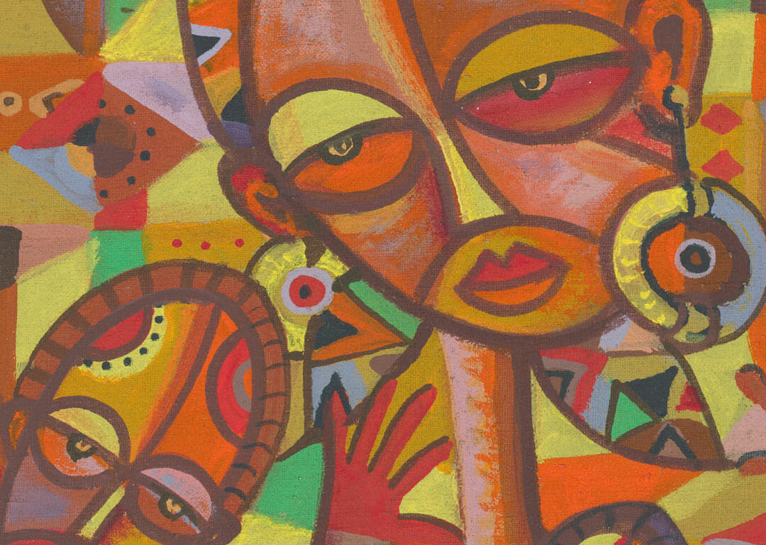The Happy Family 19 African art close