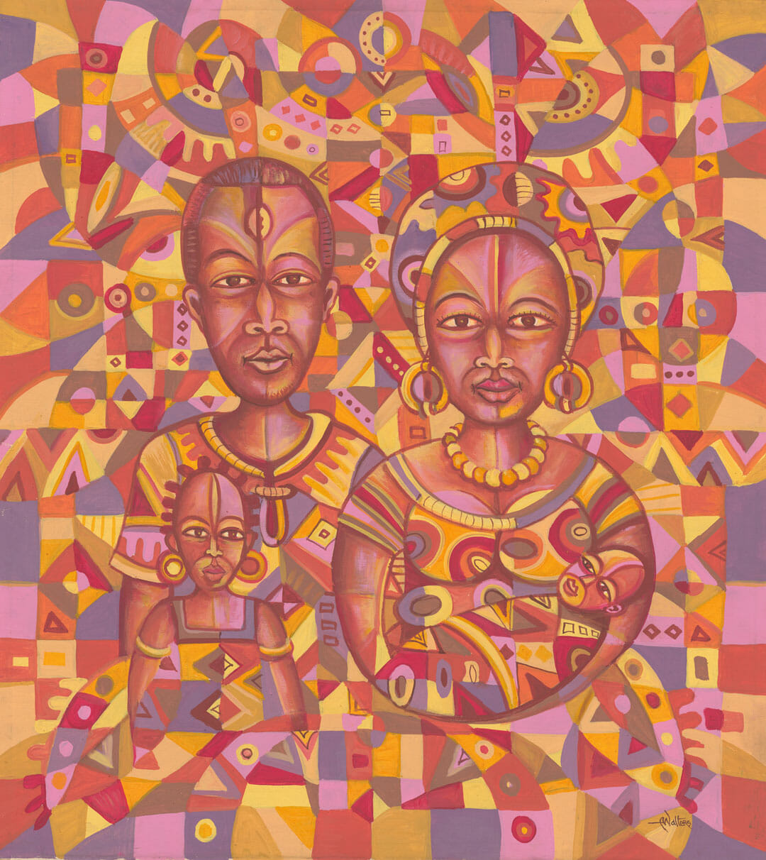 Bright acrylic painting of a young family in Africa.