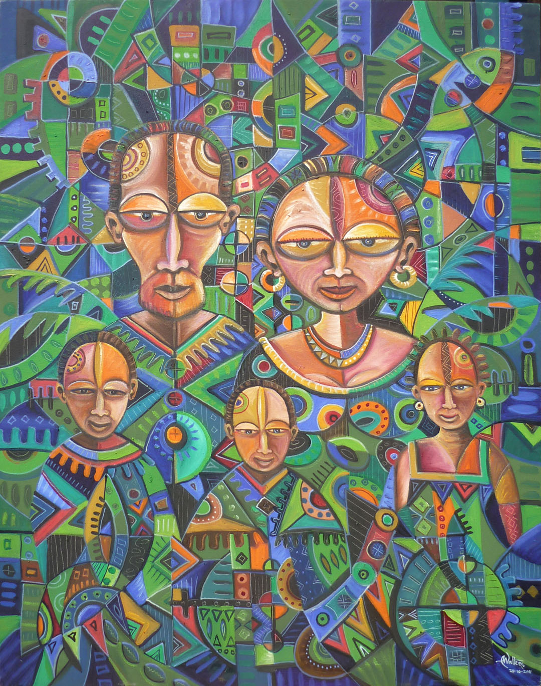 Happy Family 5 African family painting