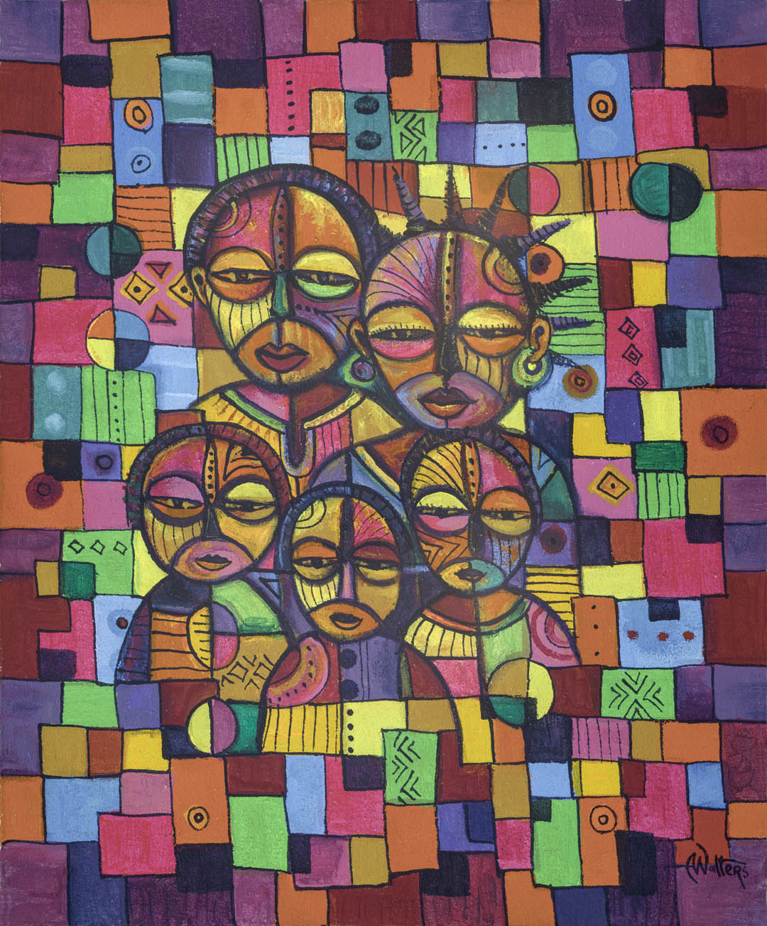 Painted in wildly vivid acrylic colors, this original painting from Central Africa is titled Happy Family VI.