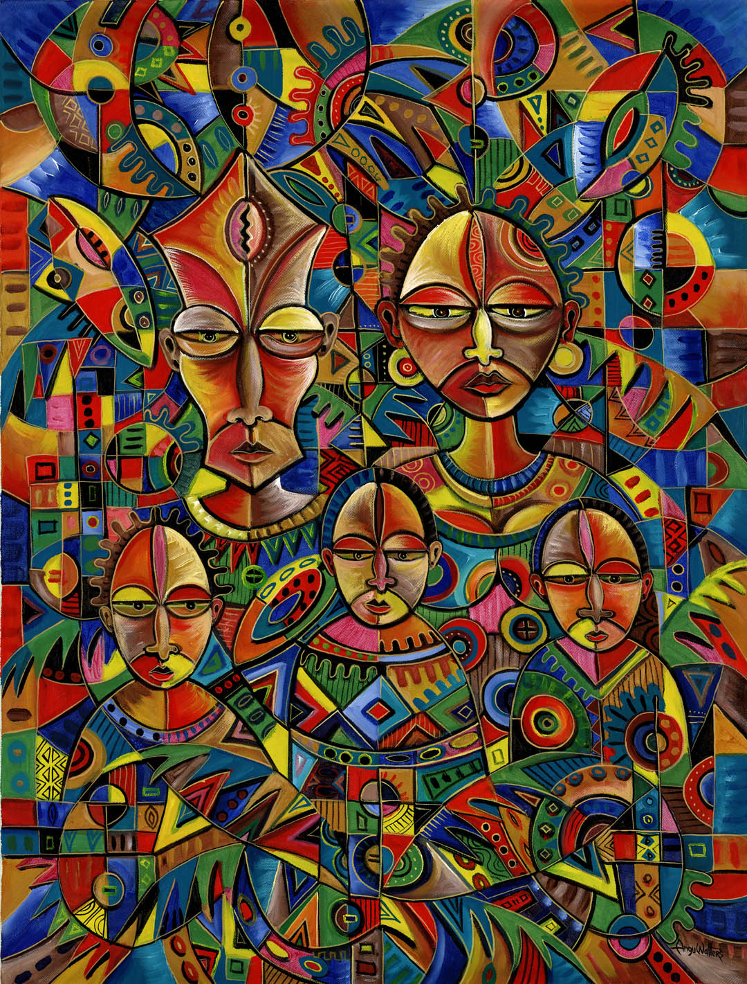 This is an acrylic painting of a family in Africa done in such festive colors.