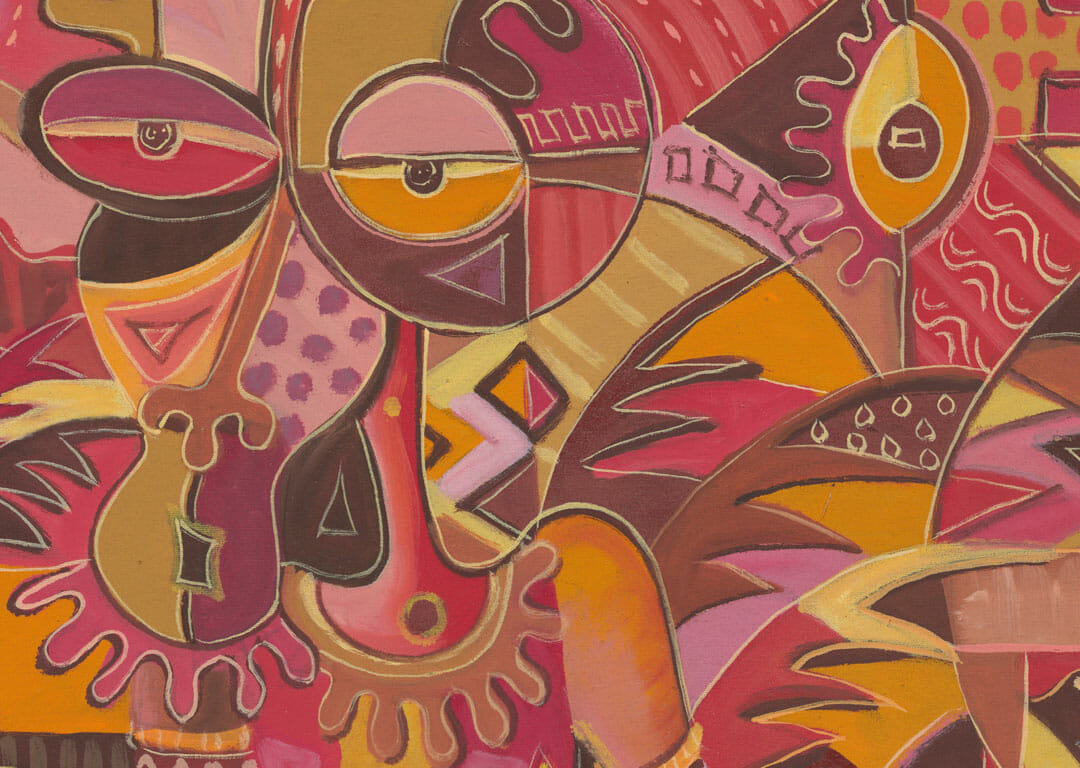 The Happy Villagers 1 surreal African art close