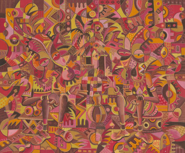 The Happy Villagers 1 surreal African art
