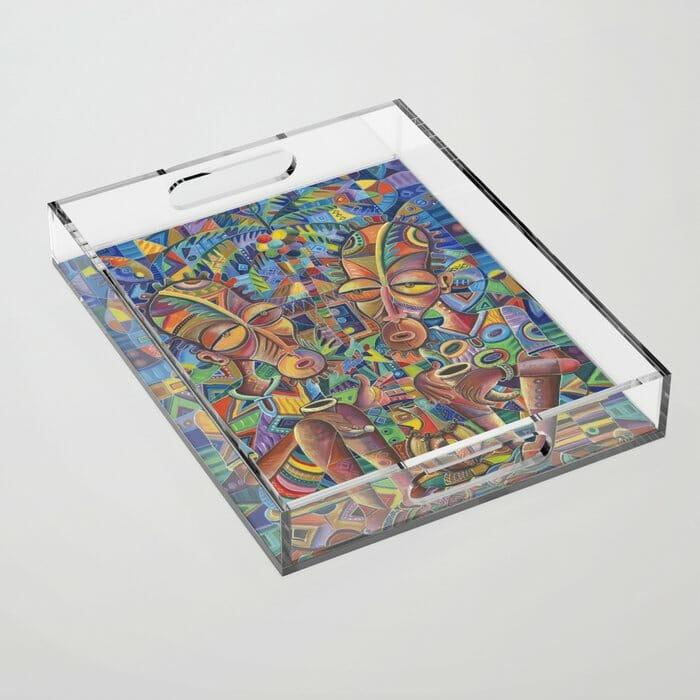 Happy Villagers 4 acrylic tray