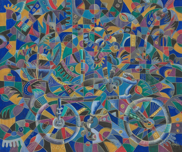 The Last Cyclist bicycle painting